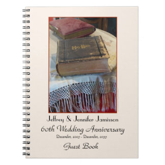 60th Anniversary Party Guest Book, Vintage Bible Spiral Note Book
