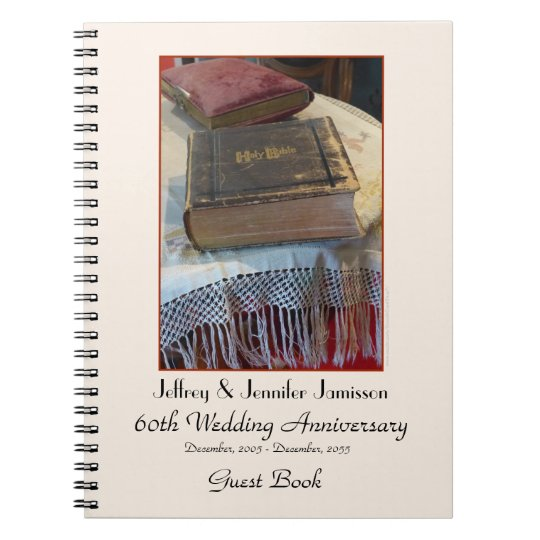 60th Anniversary Party Guest Book, Vintage Bible Spiral