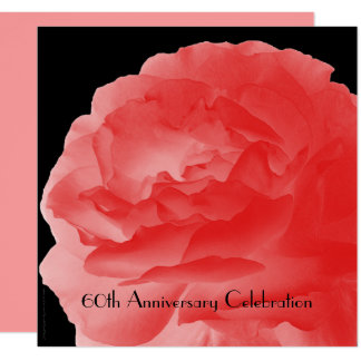 60th Anniversary Party Invitation Coral Pink Rose