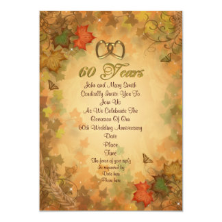 60th anniversary party invitation fall leaves