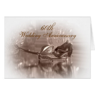 60th anniversary party invitation gold rose greeting card