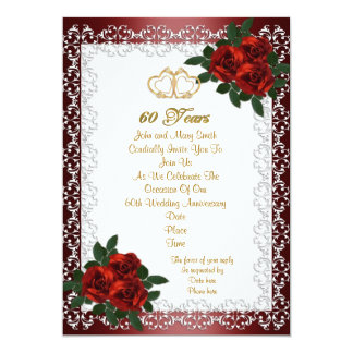 60th anniversary party invitation red roses