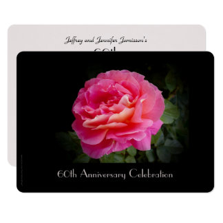 60th Anniversary Party Invitation Single Pink Rose
