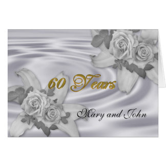 60th anniversary party invitation white roses greeting card