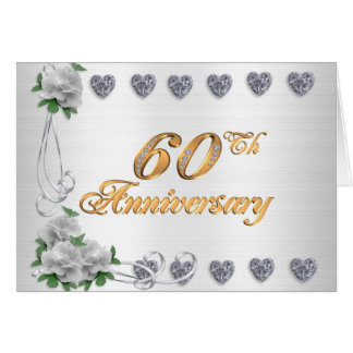 60th anniversary party invitation  white satin