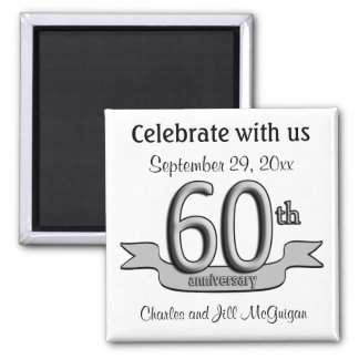60th Anniversary Save The Date Party Favors Square Magnet