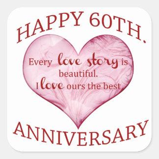 60th. Anniversary Square Sticker