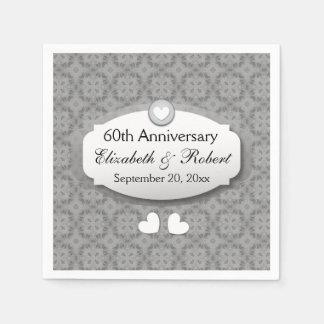 60th Anniversary Wedding Anniversary Diamond A10 Paper Serviettes