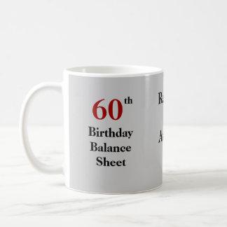 60th Birthday Balance Sheet - triple-sided Basic White Mug