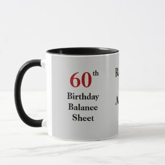 60th Birthday Balance Sheet - triple-sided Coffee Mug