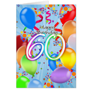 60th Birthday - Balloon Birthday Card - Happy Birt