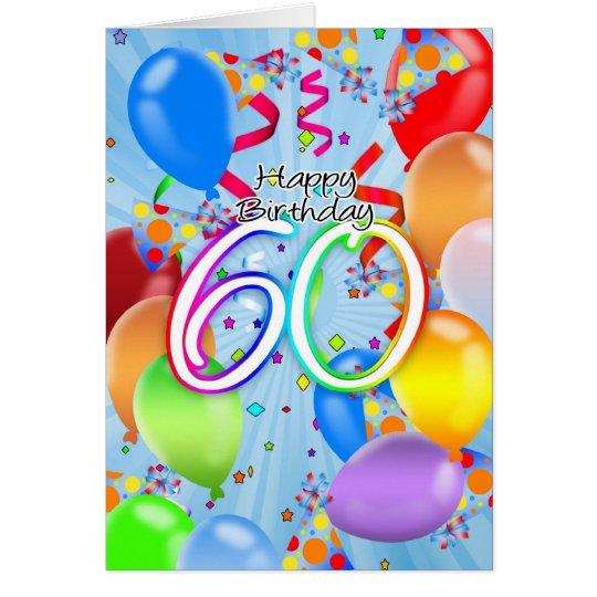 60th Birthday - Balloon Birthday Card - Happy