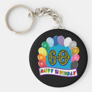 60th Birthday Balloons Happy Birthday Keychain