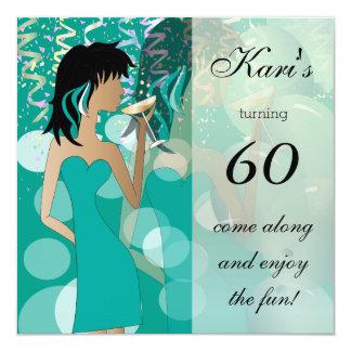 60th Birthday Bash Girl Party   Teal 13 Cm X 13 Cm Square Invitation Card