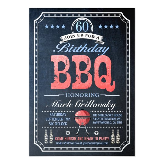 60th Birthday BBQ Invitations | Chalkboard