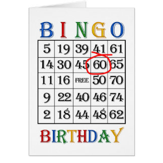 60th Birthday Bingo card