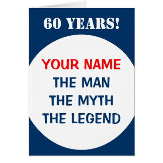 60th Birthday card for men | The man myth legend