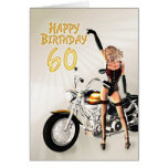 60th Birthday card with a motorbike girl