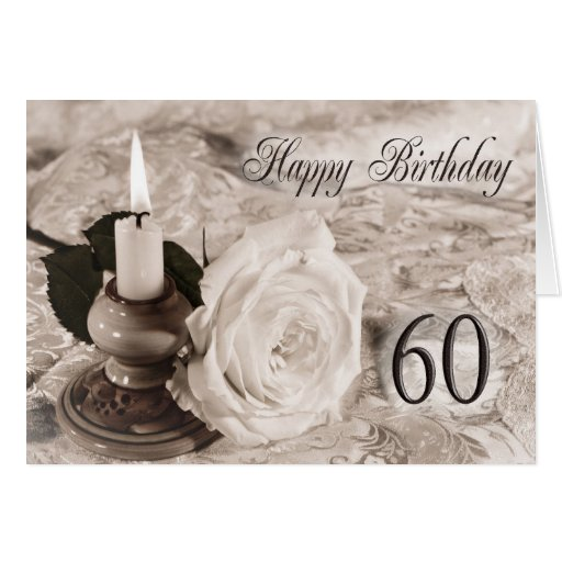 60th Birthday card with an antique rose