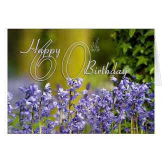 60th Birthday Card With Bluebells - Floral 60th Bi