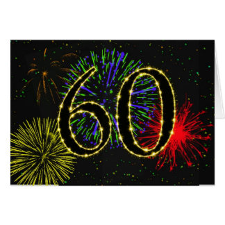 60th Birthday card with fireworks