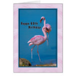 60th Birthday Card with Pink Flamingo