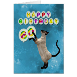 60th Birthday card with siamese cats
