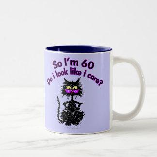 60th Birthday Cat Gifts Two-Tone Mug