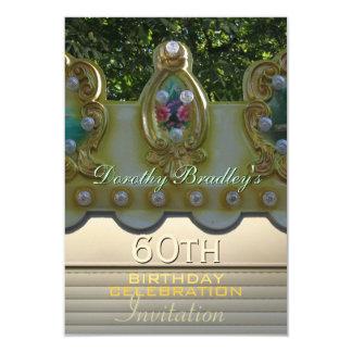 "60th Birthday Celebration Carousel Custom Invite 3.5"" X 5"" Invitation Card"