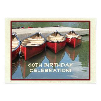 "60th Birthday Celebration Invitation, Red Canoes 5"" X 7"" Invitation Card"