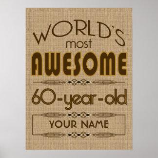 60th Birthday Celebration World Best Fabulous Poster
