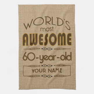 60th Birthday Celebration World Best Fabulous Tea Towel