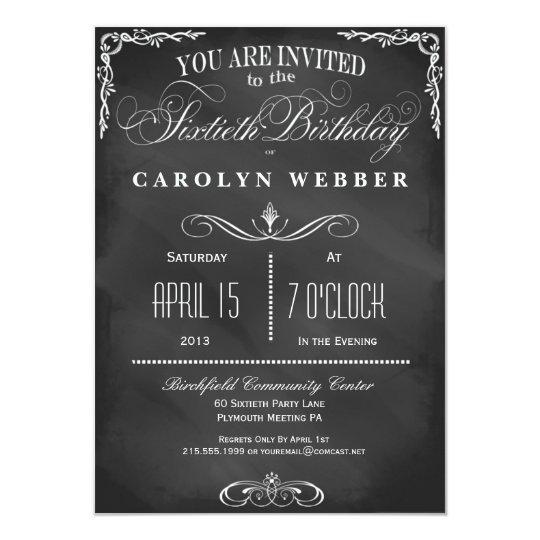 60th Birthday Chalkboard Typography Party Invite