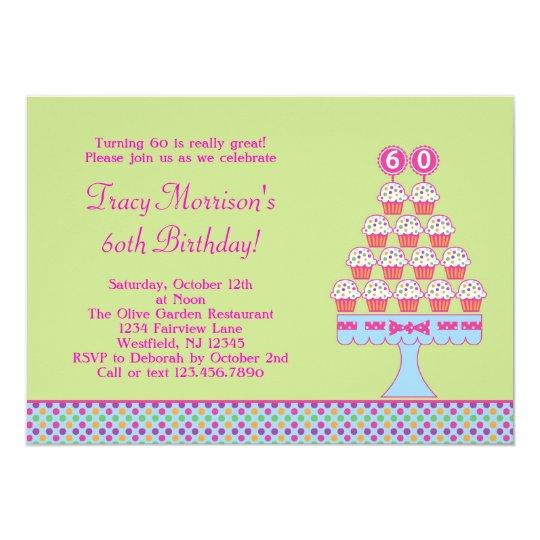60th Birthday Cupcakes Invitation
