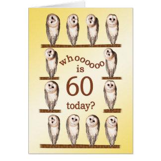 60th birthday, Curious owls card. Card