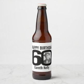 60th Birthday custom photo name label