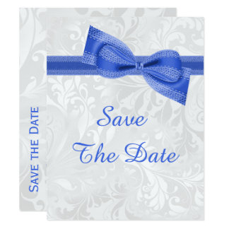 60th Birthday Damask and Faux Bow Save The Date Card