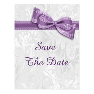 60th Birthday Damask and Faux Bow Save The Date Postcard