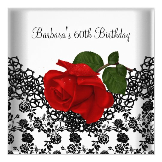 60th Birthday Damask Lace Black White RED Rose