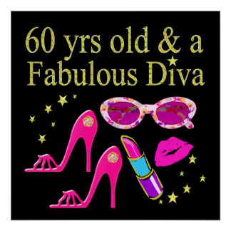 60TH BIRTHDAY DAZZLING DIVA DESIGN POSTER