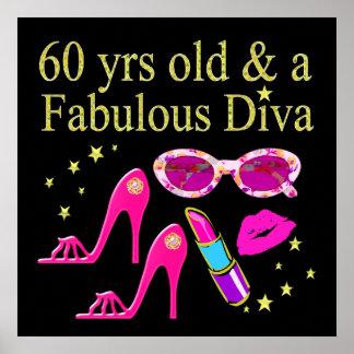 60TH BIRTHDAY DAZZLING DIVA DESIGN POSTER