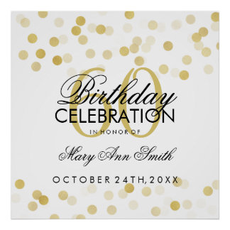 60th Birthday Faux Gold Foil Glitter Lights Poster