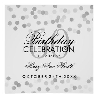 60th Birthday Faux Silver Foil Glitter Lights Poster
