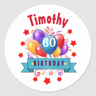60th Birthday Festive Colorful Balloons C01EZ Classic Round Sticker