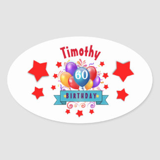 60th Birthday Festive Colorful Balloons C01EZ Oval Sticker