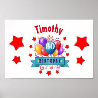 60th Birthday Festive Colorful Balloons C01EZ Poster
