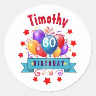 60th Birthday Festive Colorful Balloons C01EZ Round Sticker