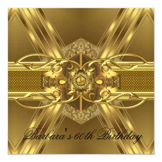 60th Birthday Gold Black Ornate Jewel 2 13 Cm X 13 Cm Square Invitation Card