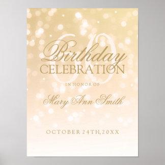 60th Birthday Gold Bokeh Sparkle Lights Poster