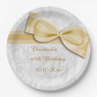 60th Birthday Gold Damask and Faux Bow 9 Inch Paper Plate
